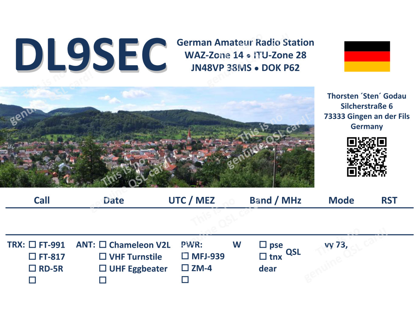 My current QSL card